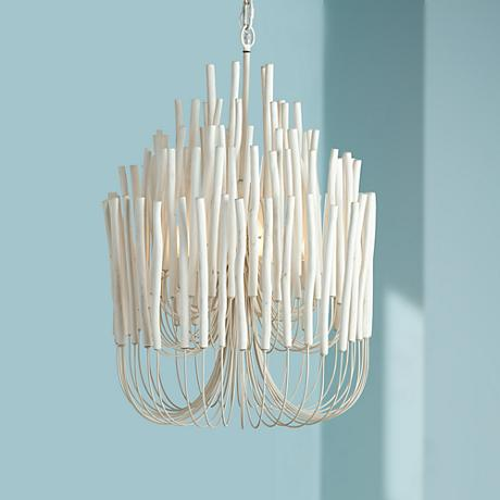 "Arteriors Home Tilda 21"" Wide Whitewash Wood Chandelier"