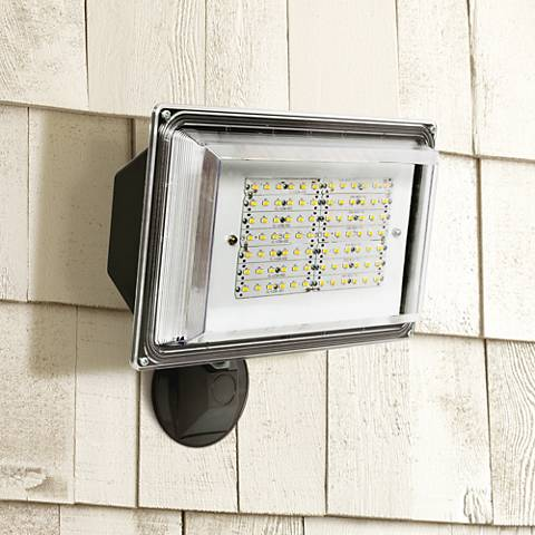 "12 1/4""H Dusk-to-Dawn Bronze 42 Watt Outdoor LED Floodlight"