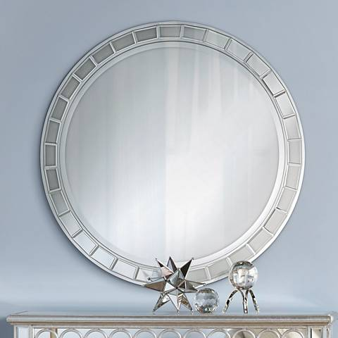 "Kesha Antique Silver Beveled 36"" Round Wall Mirror"
