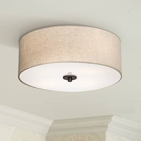 "Bronze with Off White Shade 18"" Wide Ceiling Light Fixture"