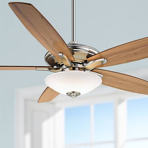 "52"" Minka Aire Mojo Frosted White Glass - Nickel Ceiling Fan"