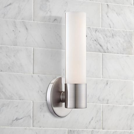 "George Kovacs Saber 12"" High Brushed Nickel LED Sconce"