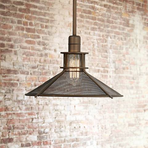 "Glasgow Industrial 14"" Wide Bronze Pendant Light"