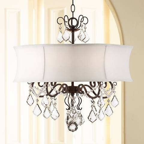 "Zula White Shade 22"" Wide Crystal Chandelier"