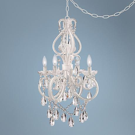 "Alderton White 16 1/2"" Wide Crystal Plug-in Swag Chandelier"