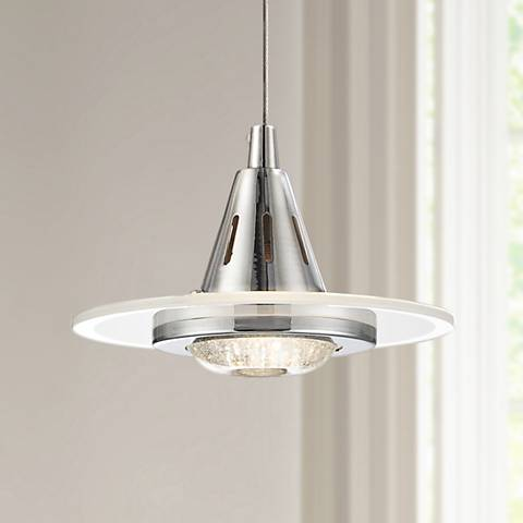 "Possini Euro Menos 6 1/4"" Wide Chrome LED Mini Pendant Light"