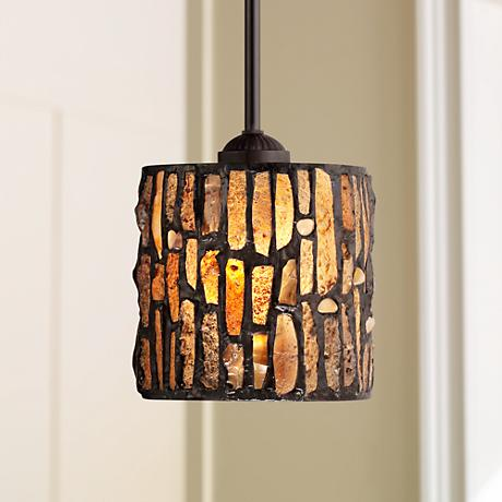 "Strada Mosaic 7"" Wide Tiffany Style Mini Pendant Light"
