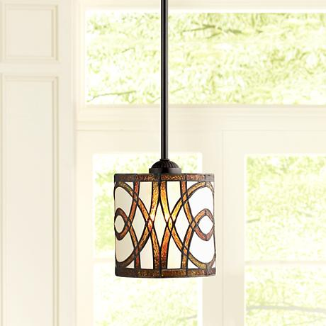 Art Glass Circles Tiffany Style Mini Pendant Light