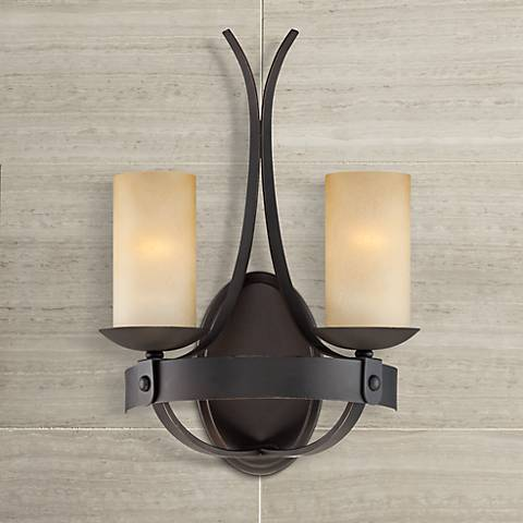"Franklin Iron Works™ 18"" High Scavo Glass Sconce"