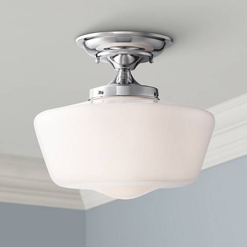 "Schoolhouse Floating 12"" Wide Chrome Opaque Ceiling Light"