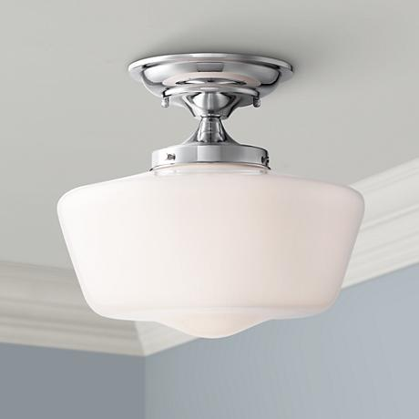 "Schoolhouse Floating 12"" Wide Chrome Ceiling Light"