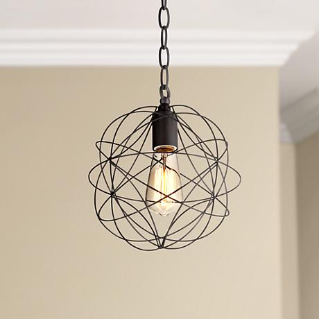 "La Joya 9"" Wide Orbital Bronze Pendant Light"