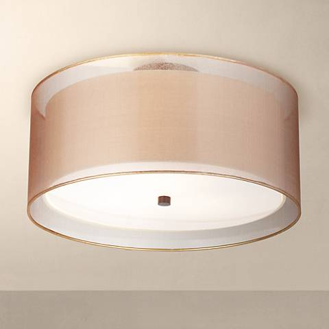 "Possini Euro Double Drum 18"" Wide Bronze Ceiling Light"