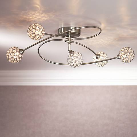 "Possini Euro Orella 28 1/2"" Wide Brushed Steel Ceiling Light"