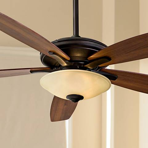"52"" Minka Aire Mojo Tea Stain Glass - Bronze Ceiling Fan"