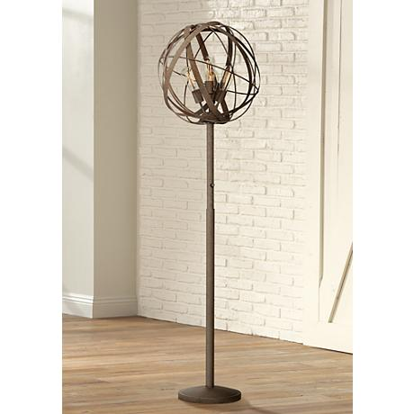 Possini Euro Design Orbital Weave Industrial Floor Lamp