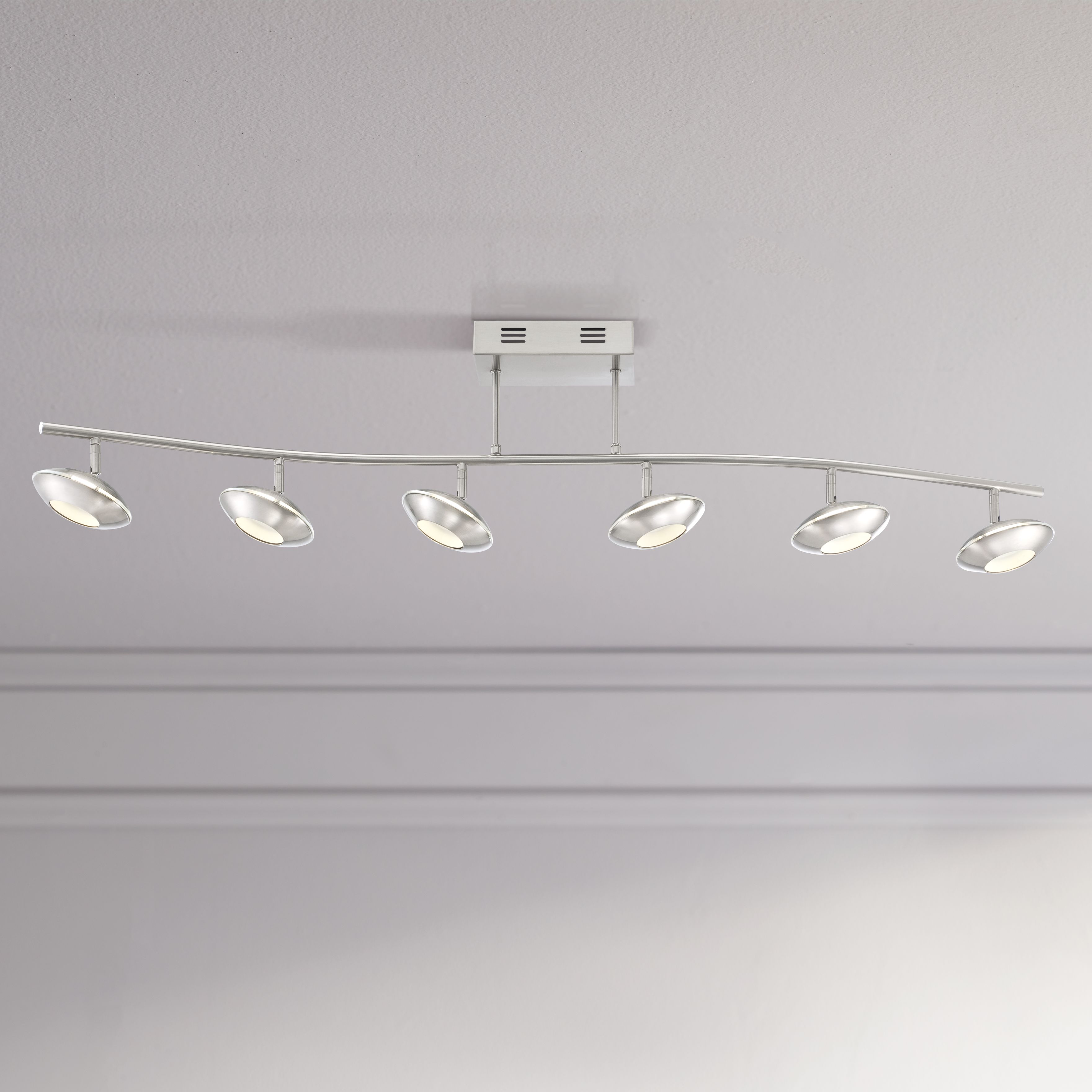 pro track thurston brushed steel 6led ceiling light