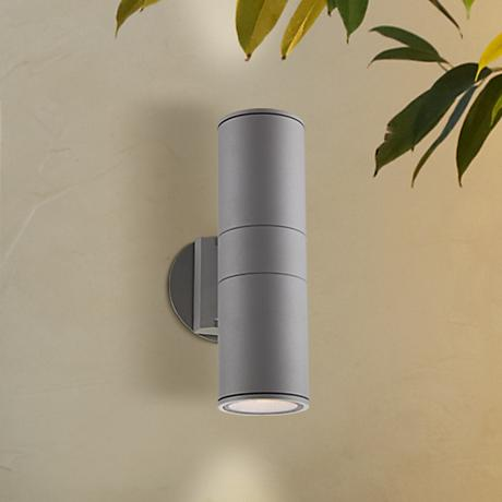 Possini Euro Design Ellis Silver Outdoor Up and Downlight