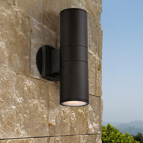 Possini Euro Design Ellis Black Outdoor Up and Downlight