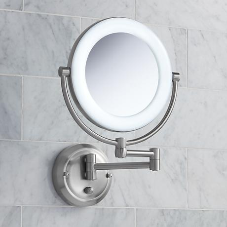 "Surround Lighted 12 3/4"" High Satin Nickel Mirror"