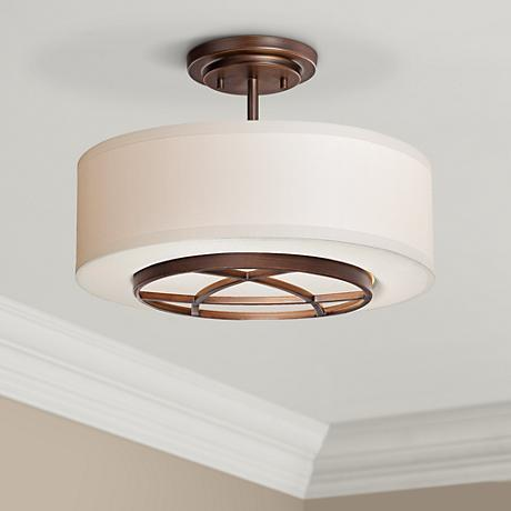 "City Club 15"" Wide Brushed Bronze Semi-Flush Ceiling Light"
