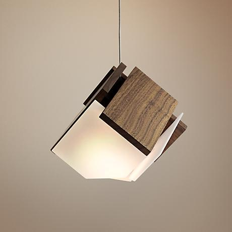 "Cerno Mica 9"" Wide Oiled Walnut LED Pendant Light"