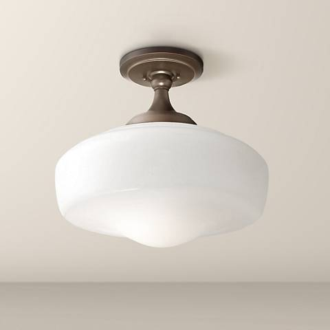 "Schoolhouse Style 17 1/4"" Wide Brushed Bronze Ceiling Light"