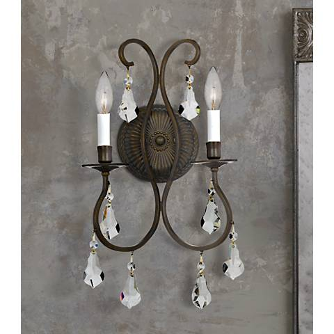 "Crystorama Ashton Bronze 18 1/2"" High Crystal Wall Sconce"
