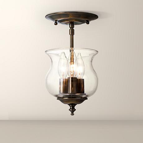 "Crystorama Ascott 6 1/2"" Wide Antique Brass Ceiling Light"