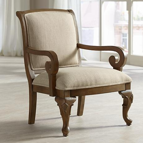 Cecille Distressed Wood and Beige Upholstery Accent Chair