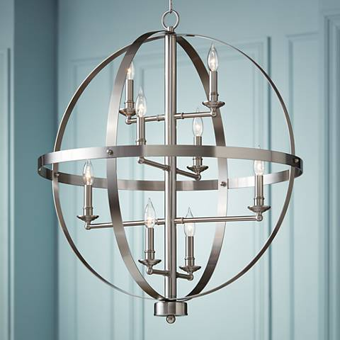 "Portola 29"" Wide Brushed Steel Chandelier"