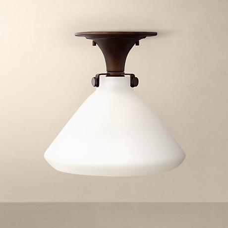 "Congress 12"" Wide Opal Glass Oil-Rubbed Bronze Ceiling Light"