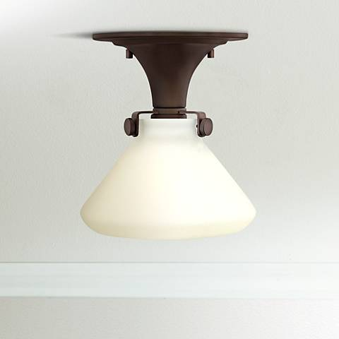 "Congress 8""W Opal Glass Oil-Rubbed Bronze Ceiling Light"