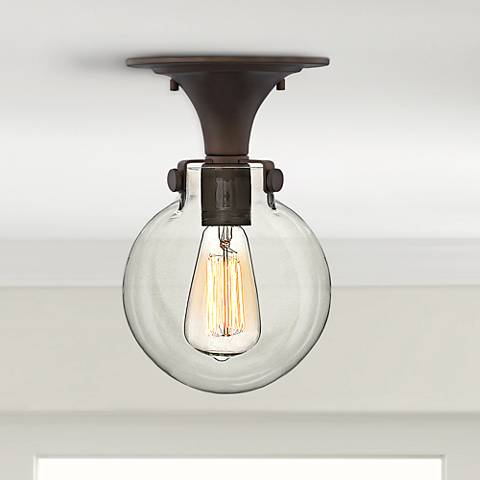 "Hinkley Congress 10 3/4""W Clear Glass Bronze Ceiling Light"