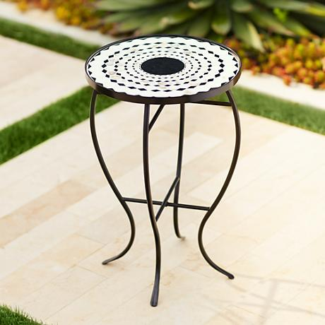 Kassi Black and White Mosaic Outdoor Accent Table