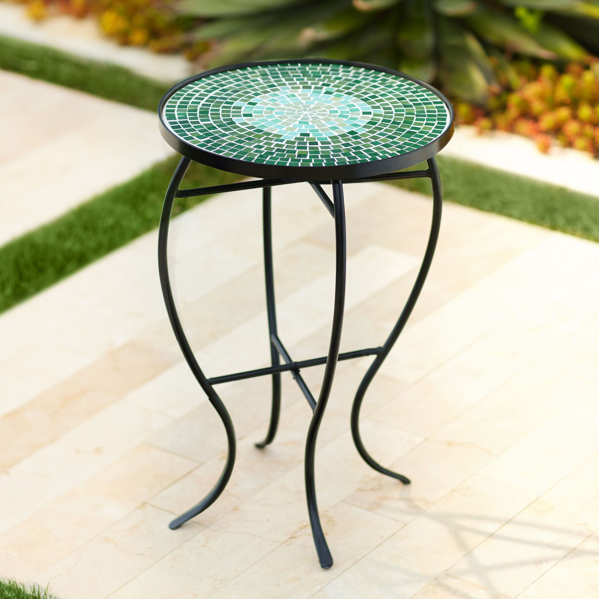 bella green mosaic outdoor accent table - Outdoor Accent Tables