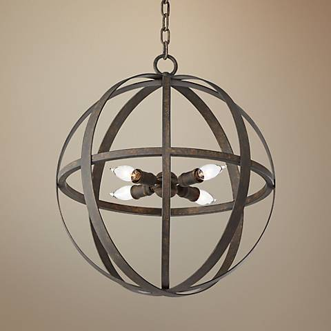 "Flatiron 18 1/2"" Wide Weathered Iron Pendant Light"