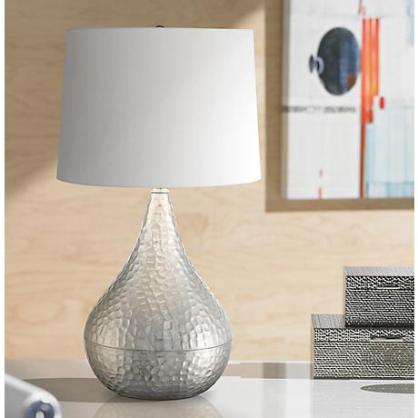 Jasper Hammered Metal Brushed Steel Gourd Table Lamp