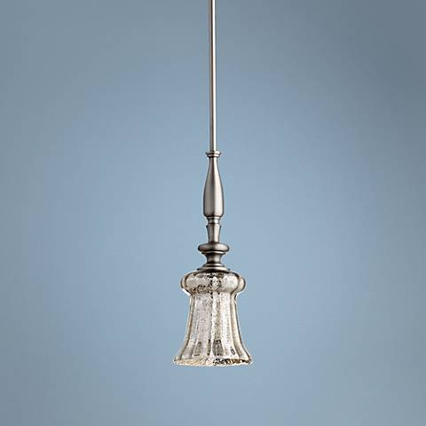 "Quorum Bell 21 1/2"" High Satin Nickel Mini Pendant"