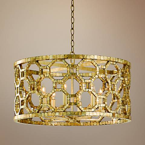 "Corbett Regatta 25"" Wide Capiz Shell Mosaic Pendant Light"