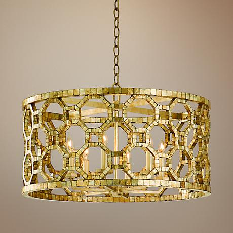"Corbett Regatta 25"" Wide Silver Leaf Mosaic Pendant Light"