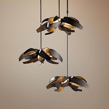 Hubbardton Forge Corona Dark Smoke Triple Pendant Light