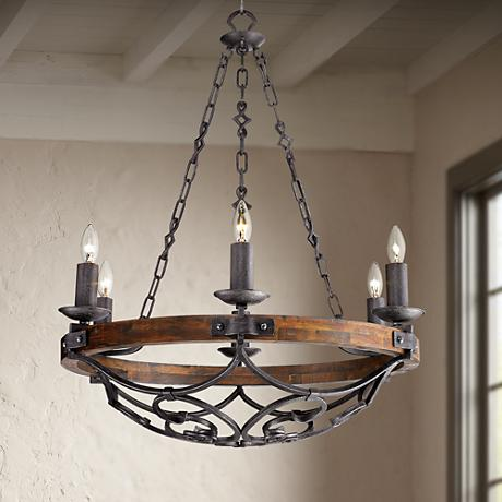 Madera 28 1 4 Wide Black Iron Hand Forged Chandelier 2Y207