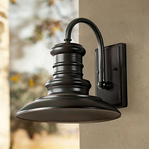 "Feiss Redding Station 12"" Bronze Outdoor Wall Lantern"