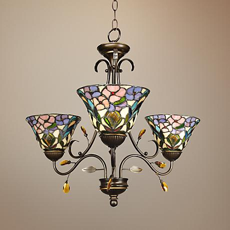 "Peony Art Glass 24"" Wide Dale Tiffany Chandelier"