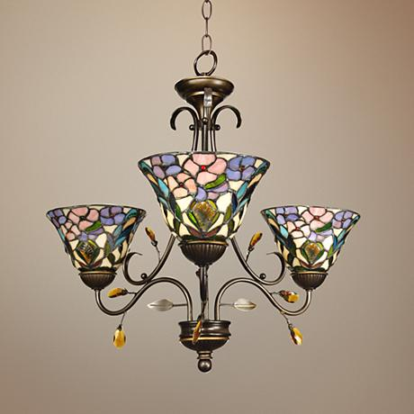 Peony Art Glass 24 Quot Wide Dale Tiffany Chandelier 2y406