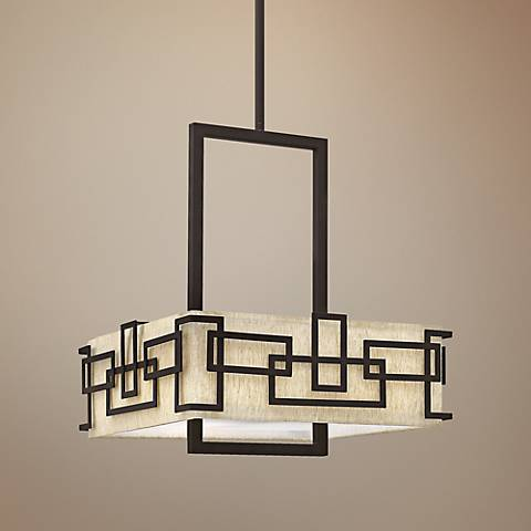 "Hinkley Lanza 18"" Wide Oatmeal Linen Bronze Chandelier"