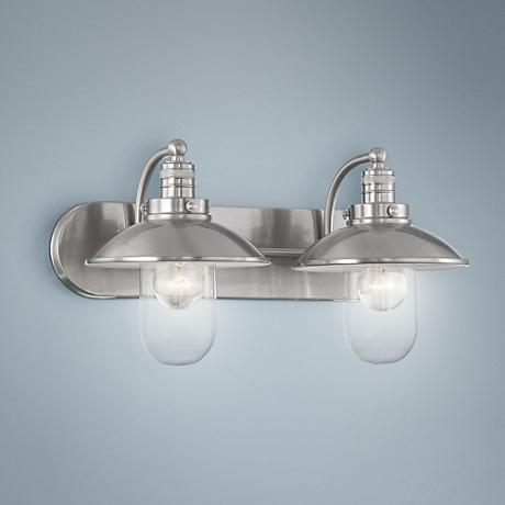 Downtown Edison 18 1 2 Wide Brushed Nickel Bathroom Light 2y638 Lamps Plus
