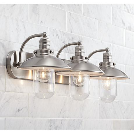 Downtown edison 28 1 2 wide brushed nickel bath light for Bathroom 2 light fixtures