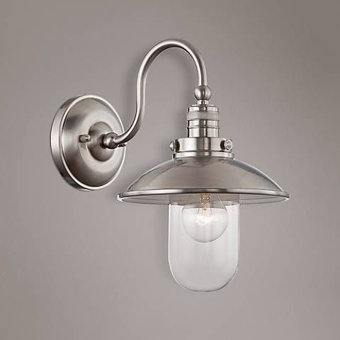 "Downtown Edison Collection 13"" High Brushed Nickel Sconce"